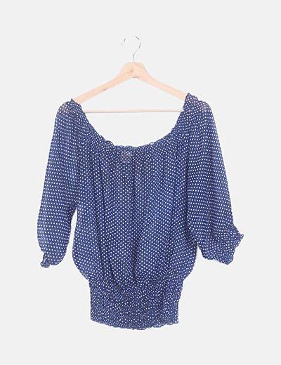 Blusa semitransparente azul moteada