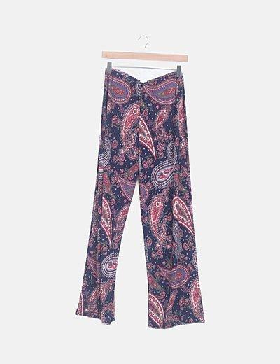 Pantalón elástico azul marino print floral