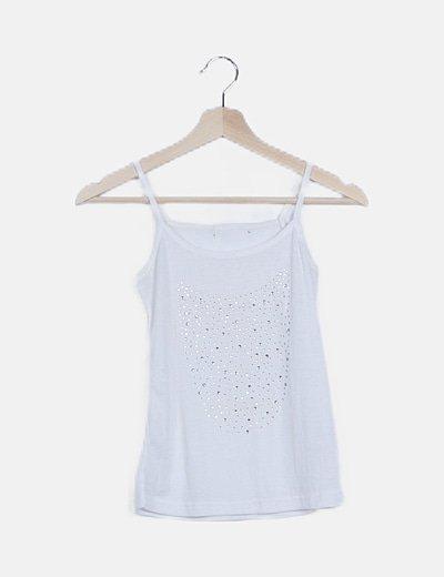 Camiseta blanca canalé detalle strass