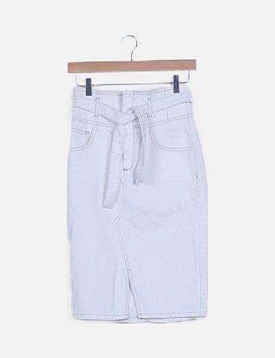 Falda midi denim blanca