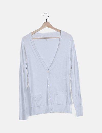 Jersey básico blanco abotonado
