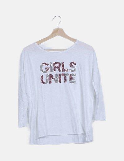 Camiseta blanca paillettes