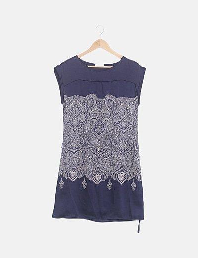 Vestido fluido azul marino estampado vintage
