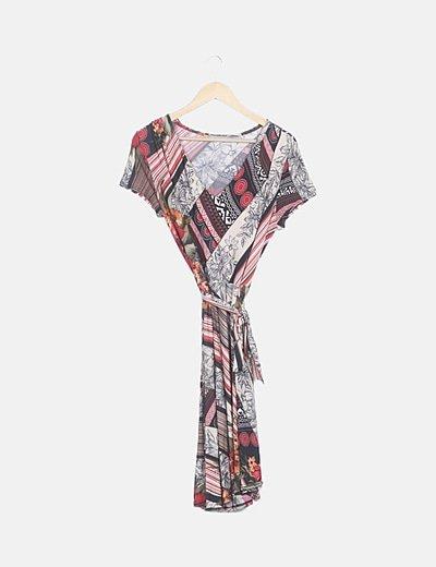 Vestido print combinado multicolor