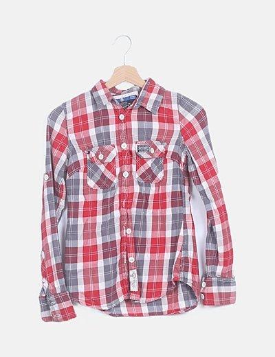 Camisa cuadros rojos manga larga