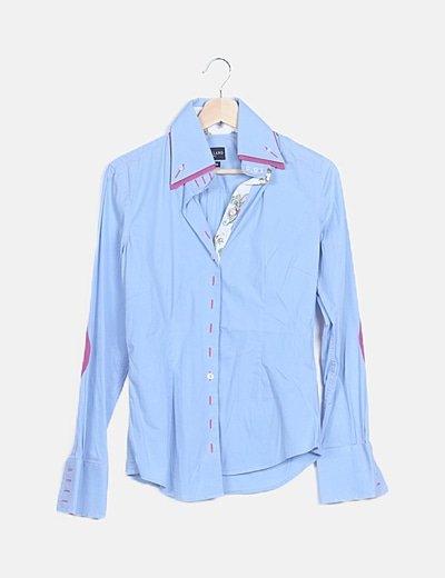 Camisa entallada azul doble solapa