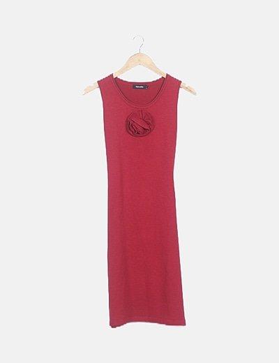 Vestido rojo punto flor