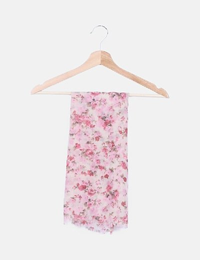 Pañuelo beige estampado rosa