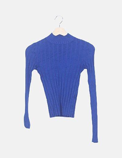 Suéter azul electrico canalé
