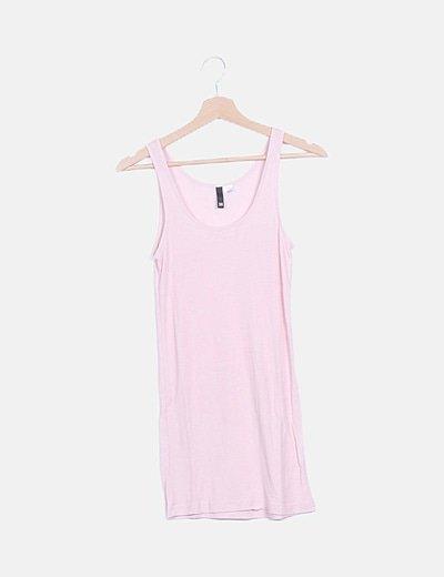 Camiseta rosa tirantes canalé