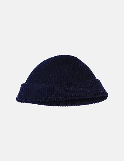 Gorro tricot azul marino jaspeado