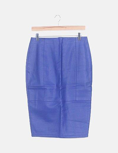 Falda midi azul eléctrico