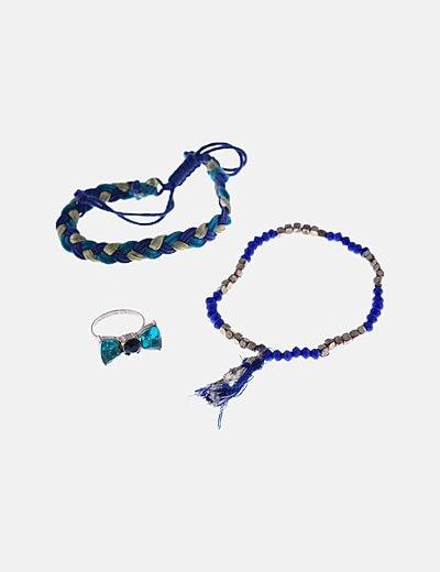 Pack dos pulseras y anillo combinados