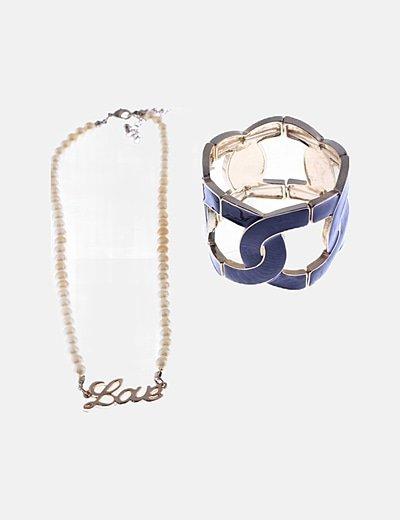 Pack collar y brazalete detalles dorados