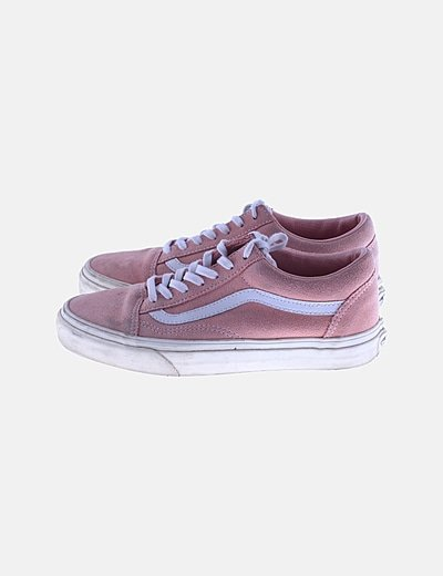 Zapatillas rosas raya blanca
