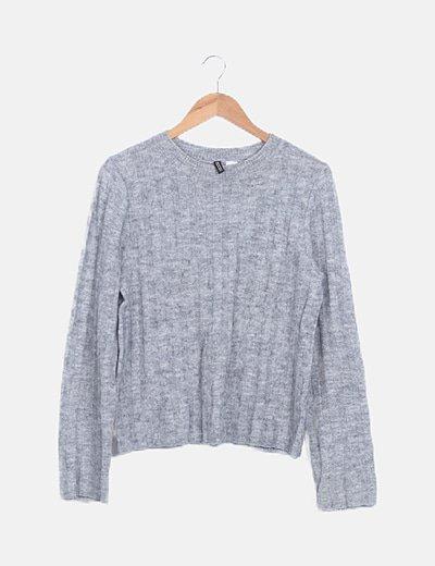Jersey canalé gris