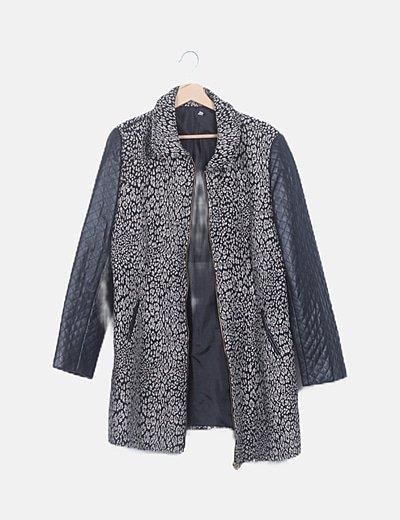 Abrigo largo combinado negro