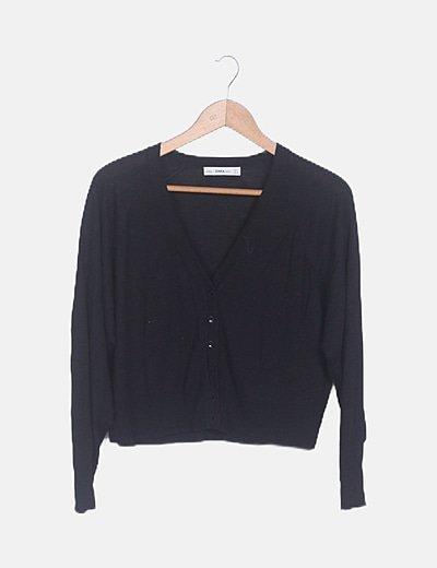 Chaqueta negra tricot manga larga