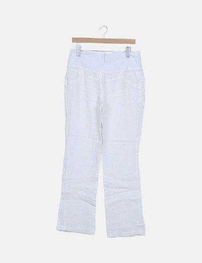 Pantalón blanco lino premamá