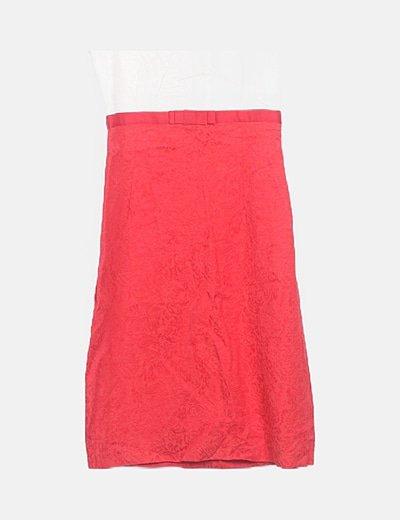 Conjunto vestido y levita roja estampada