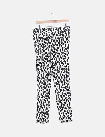 Pantalón chino beige estampado moteado negro
