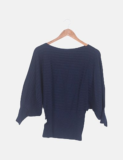 Suéter canalé azul marino