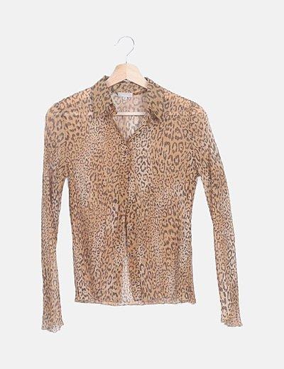 Camisa semitransparente animal print