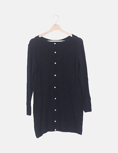Vestido tricot negro abotonado