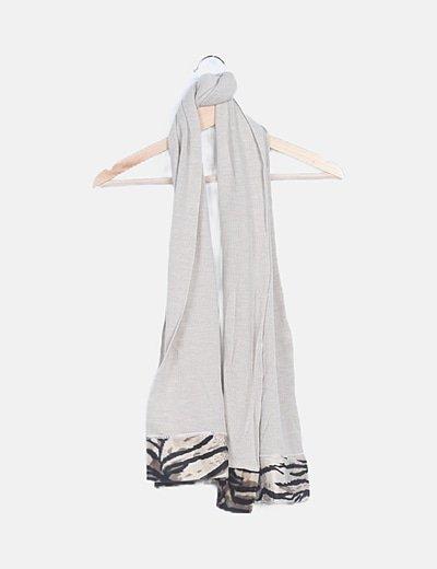 Bufanda tricot beige detalles animal print