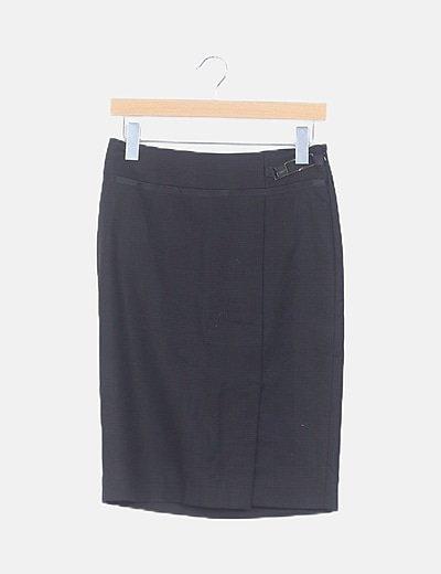 Falda midi negra pata de gallo
