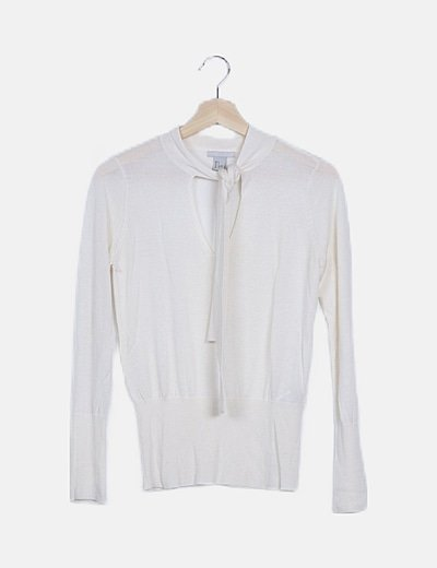 Jersey tricot blanco roto detalle lazada