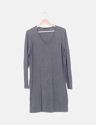Suéter tricot gris largo