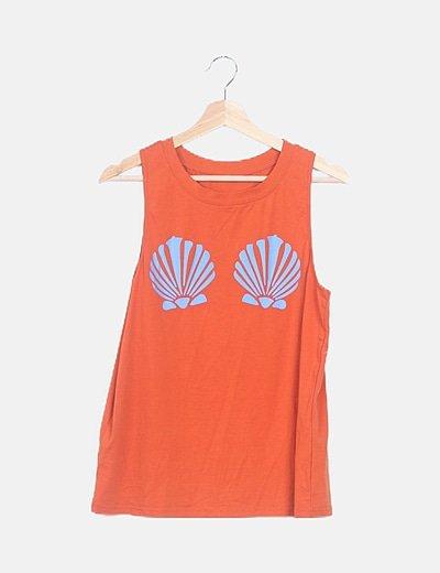 Camiseta naranja print conchas