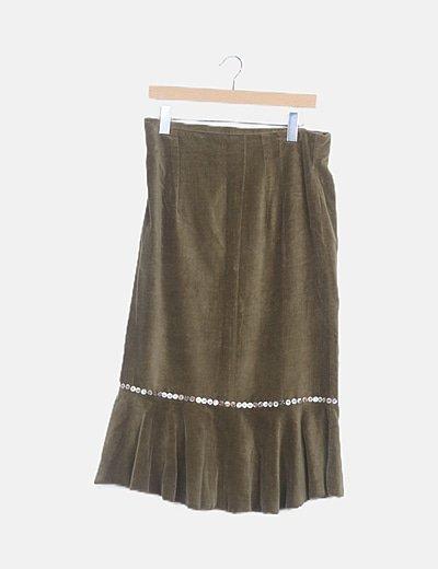 Falda maxi terciopelo verde