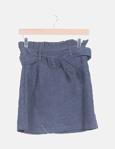Falda pana azul con cinturón