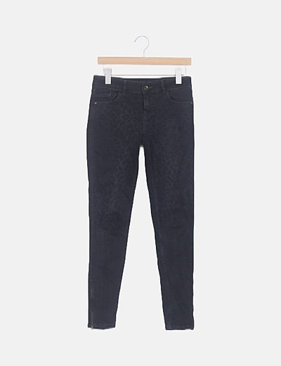 Jeans denim negro estampado animal print