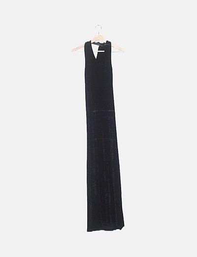 Vestido maxi terciopelo negro