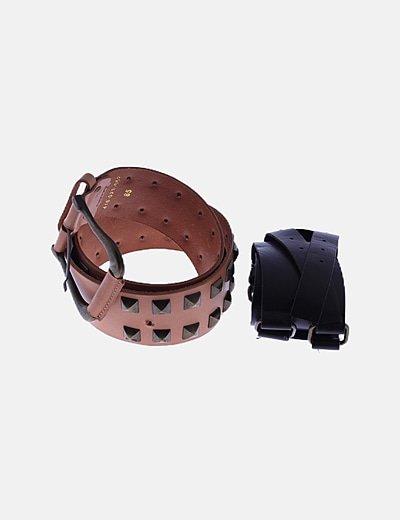 Pack cinturones anchos marrones con tachas