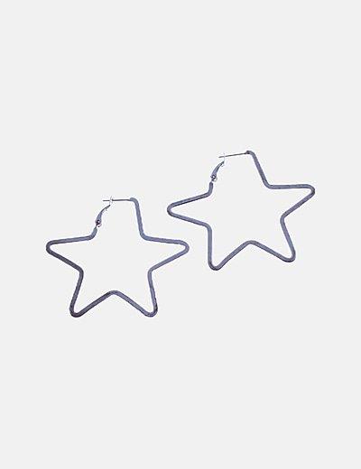 Pendientes estrellas plateados