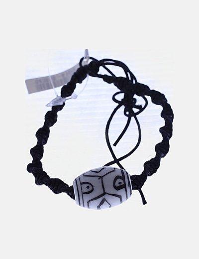 Pulsera negra cuerda piedra