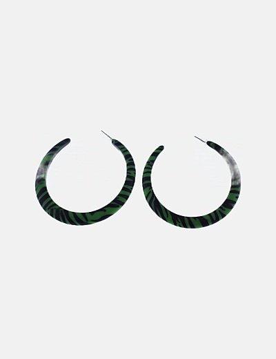 Pendientes aros verdes rayas negras
