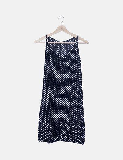 Vestido mini azul marino con topos