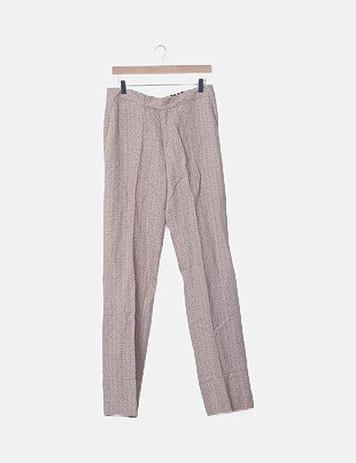 Pantalón tweed beige