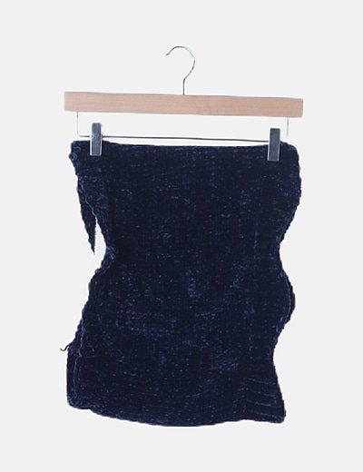 Cuello de chenilla azul marino