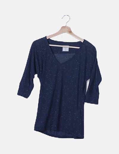 Camiseta azul marino jaspeada