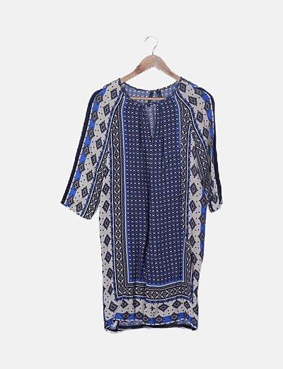 Vestido beige estampado azul