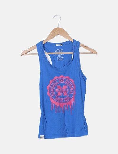 Camiseta tirante nadador azul print letras