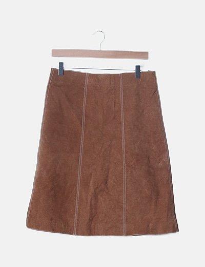 Falda efecto piel marrón
