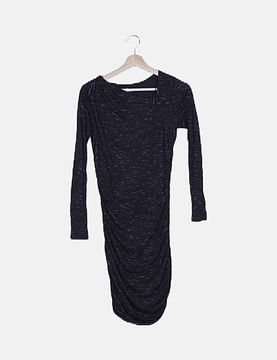 Vestido negro jaspeado
