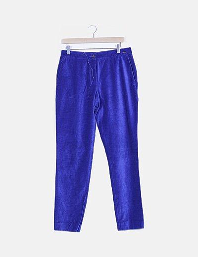 Pantalón pinzas terciopelo azul